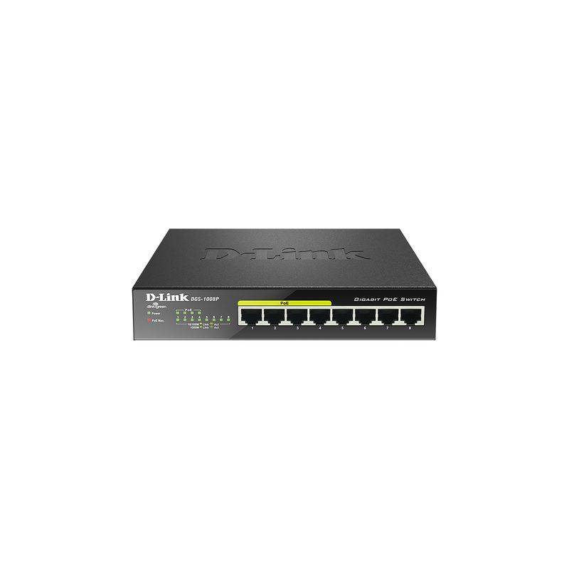 Switch DGS-1008P Pure-Gigabit No Gestionable PoE - DGS-1008P